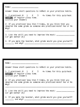 Orchestra Playing Quiz or Test Rubric