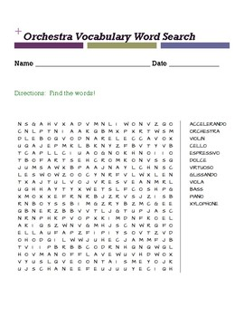 Orchestra vocabulary word search
