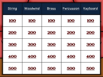 Orchestral Instruments Review Game - Jeopardy Style