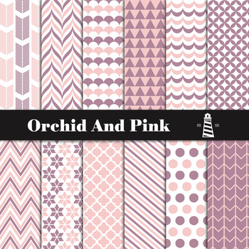 Orchid And Pink Digital Paper Pack   Scrapbook Paper   Printable Backgrounds