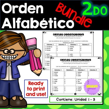 Orden Alfabético y sílabas- ABC order and syllables in Spanish Bundle