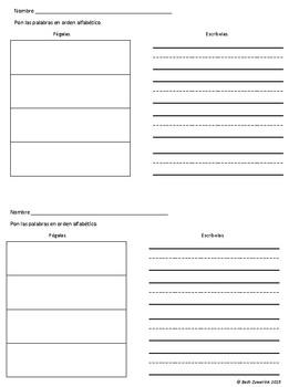 Orden alfabético/Alphabetical Order Packet