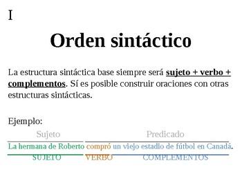 Orden sintáctico y conectores en español