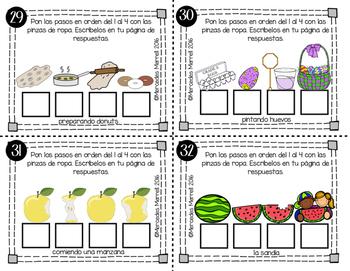 Orden y secuencia de cuentos en dibujos con 3 o 4 pasos Tarjetas de trabajo  K-1