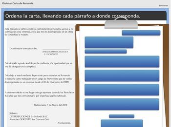 Ordena la Carta - Actividad interactiva en español - spanish interactive