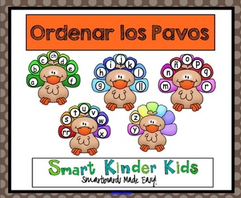 Thanksgiving - Ordenar los Pavos - A Spanish Alphabet Game for Smartboard