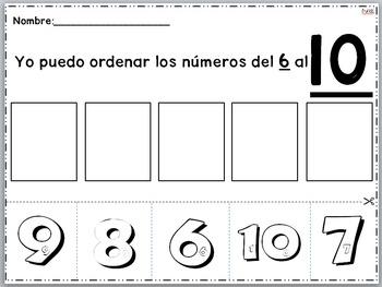 Ordenar los numeros del 6 al 10