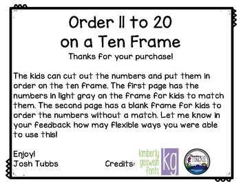Order 11 to 20 on a Ten Frame