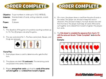 Order Complete - 1st Grade Math Game [CCSS 1.NBT.B.3]