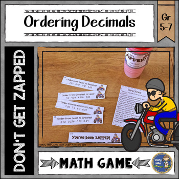 Order Decimals Don't Get ZAPPED Math Game