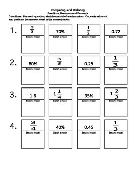 Order Fractions, Decimals and Percents:  cut and paste activity