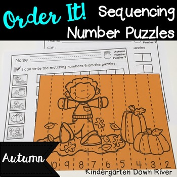 Order It! Autumn Sequencing Number Puzzles- Count Backward {English & Spanish}