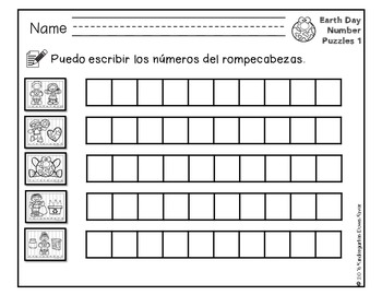 Order It! Earth Day Sequencing Number Puzzles- Count Forward {English & Spanish}