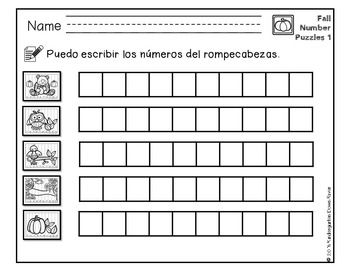 Order It! Fall Sequencing Number Puzzles- Counting Forward {English & Spanish}