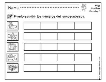 Order It! Pigs Sequencing Number Puzzles- Counting by 10s {English & Spanish}