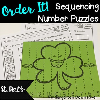 Order It! St. Patrick's Sequencing Number Puzzles- Backward {English & Spanish}