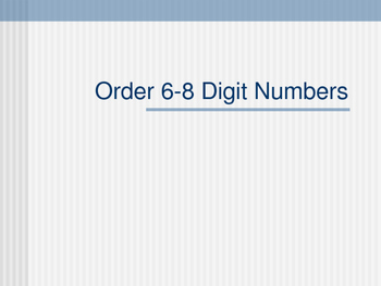 Order Larger Numbers