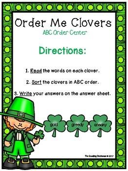 Order Me Clovers - ABC Order Word sort