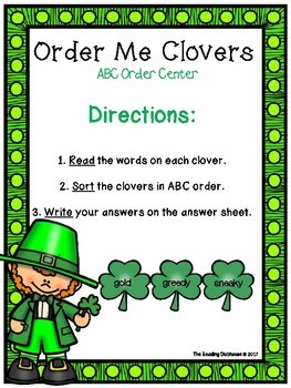 Order Me Clovers - ABC Order Word sort
