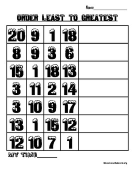 Order Numbers Least to Greatest 1-20