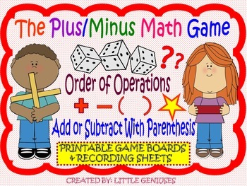 Order Of Operations: Dice Game for Grade 3
