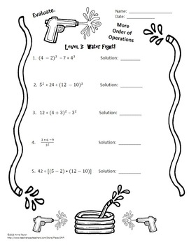 Order Of Operations PEMDAS Evaluate Expressions Pool Party Activity Task Cards