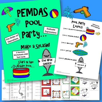 Order Of Operations PEMDAS Evaluate Expressions Pool Party