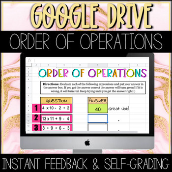 Order Of Operations GOOGLE Sheets Activity
