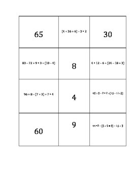 Order Of Operations Matching Activity