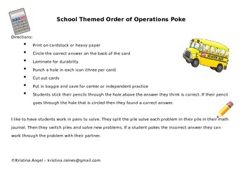 Order Of Operations School Themed