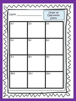 Order Of Operations Mad Libs & {Scoot}