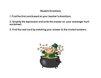 Order Of Operations-Simplify the Expression Scavenger -St. Patrick's Day
