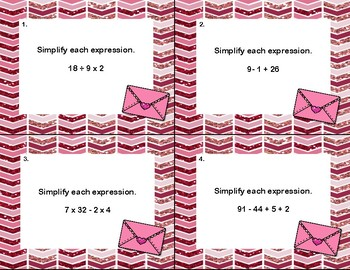 Order Of Operations-Simplify the Expressions-Task Cards 5-7-Valentine's Day