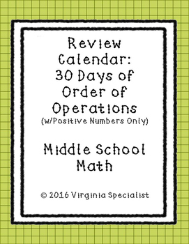 Order Of Operations with Positive Numbers Review Calendar