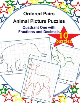 Ordered Pairs Animal Puzzles (Quadrant 1 with Fractions and Decimals)
