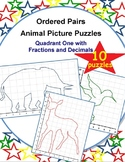 Ordered Pairs Mystery Puzzles (Quadrant 1 - Animals with Fractions and Decimals)