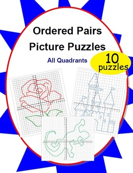 Ordered Pairs Mystery Picture Puzzles (All Quadrants)