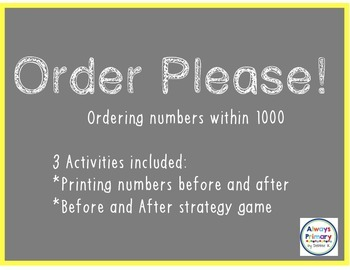 Order Please! Ordering Numbers within 1000