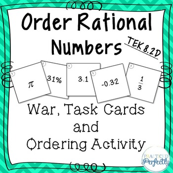 Order Rational Numbers TEK 8.2D