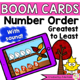 Order Sequence Numbers Greatest to Least Digital Game Boom Cards