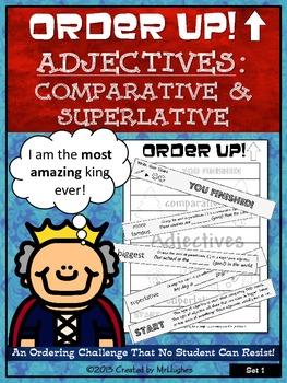 Adjectives {Comparative and Superlative} Order Up! Set #1