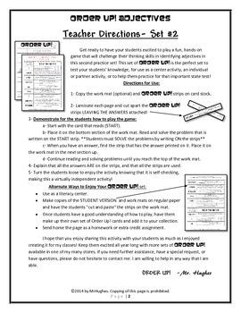 Adjectives {Size, Color, Number, Articles} Order Up! Set #2