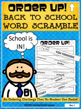 Back to School Word Scramble - Order Up!