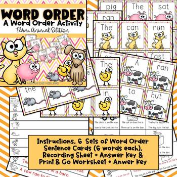 Order Up! {farm themed word order activity}