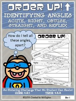 Identifying Angles as Obtuse, Acute, Right, Straight, or Reflex - Order Up!