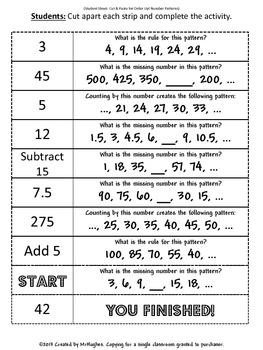 Number Patterns - Order Up!
