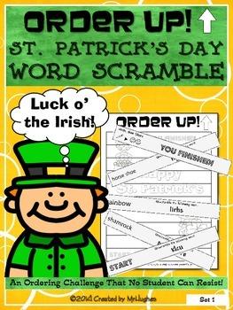 St. Patrick's Day Word Scramble - Order Up!