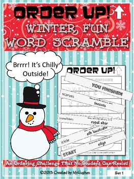 Winter Fun Word Scramble - Order Up!