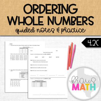 Ordering Whole Numbers: Guided Notes and Practice (TEKS Aligned 4.2C)