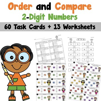 Order and Compare 2-Digit Numbers Task Cards